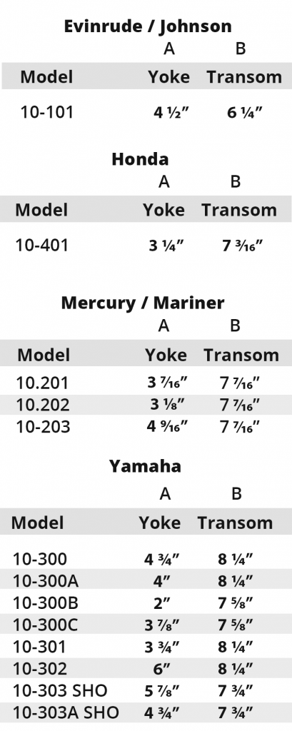 Motormate Measurements Chart for Evinrude, Honda, Mercury, Yamaha